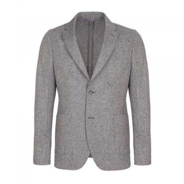 Micro Herringbone Wool Jacket