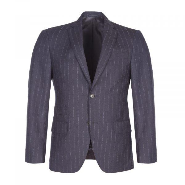 Navy Chalk Stripe Wool 3 Piece Suit 1