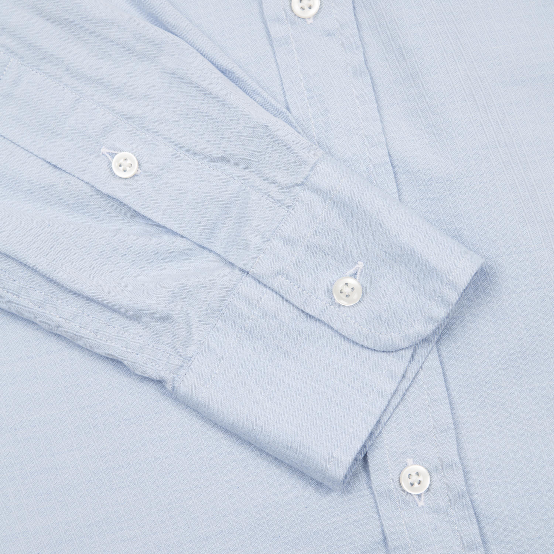 Light Blue Micro Herringbone Pen Pocket Shirt