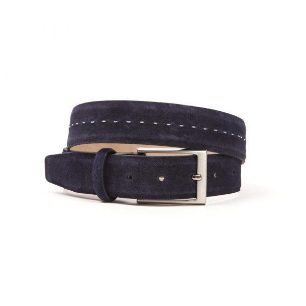 Navy Nubuck Suede Hand Stitched Belt