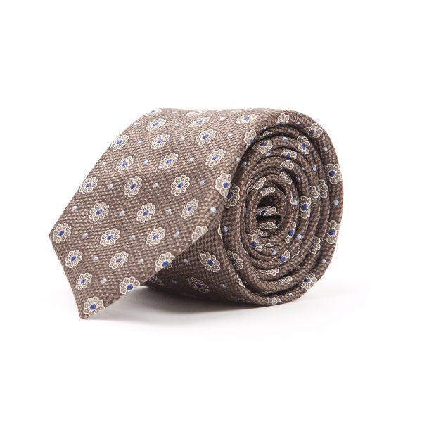 Brown Floral Pattern Tie