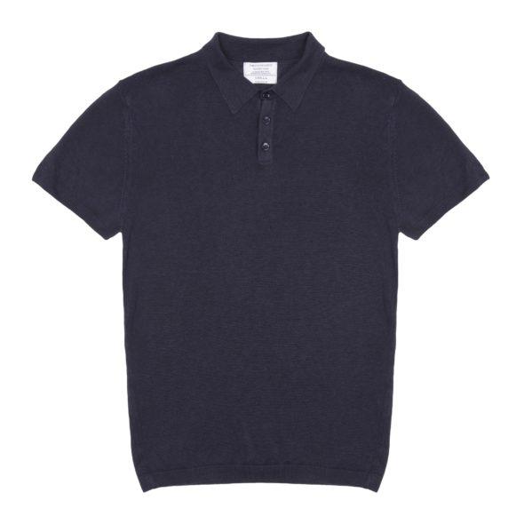The Navy Blue Short Sleeved Linen Polo