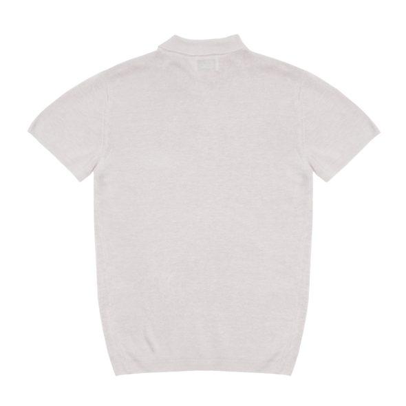 The Ivory White Short Sleeved Linen Polo