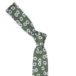 Green Floral Silk Tie