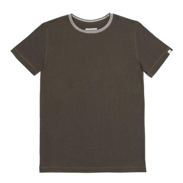 Khaki Rib Detail T Shirt