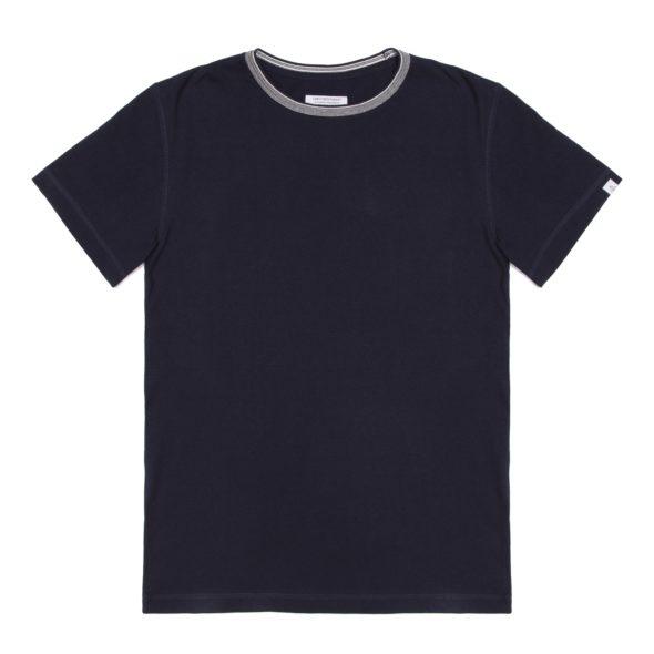 Navy Rib Detail T Shirt