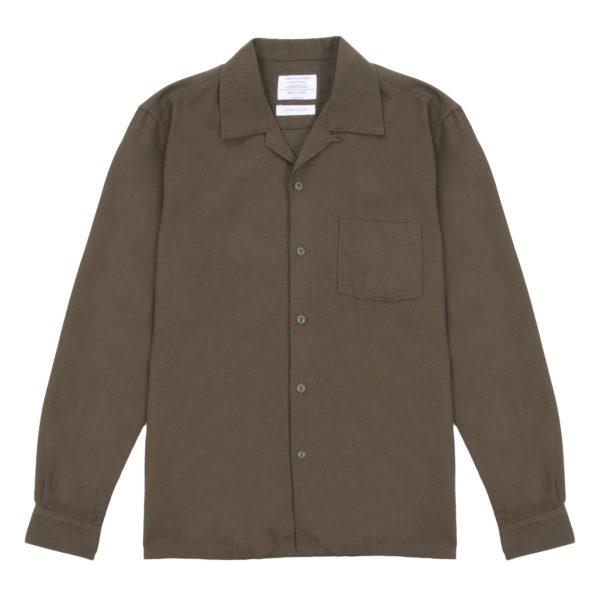 Long Sleeve Olive Waffle Weave Cuban Shirt