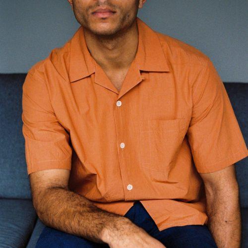 Desert Red Short Sleeve Poplin Cuban Shirt
