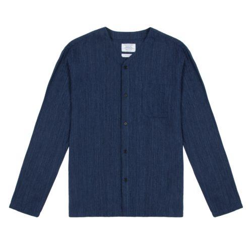 Indigo Open Weave Long Sleeve Dugout Shirt