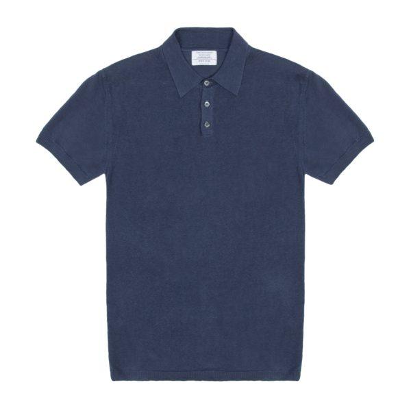 Indigo Short Sleeved Linen Polo