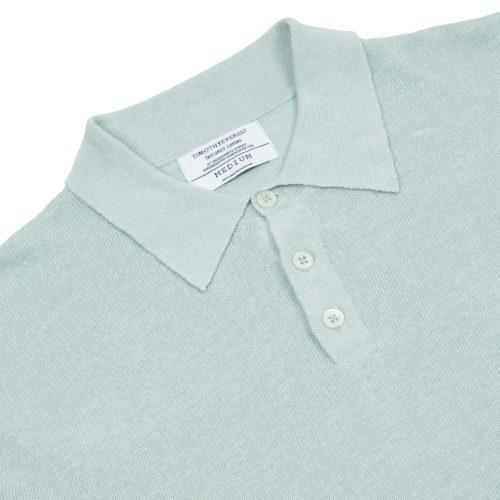 Ice Blue Short Sleeved Linen Polo