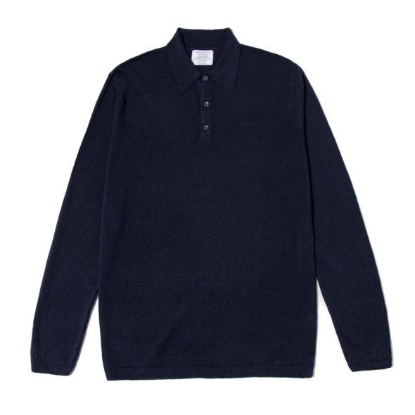 Navy Blue Long Sleeved Linen Polo