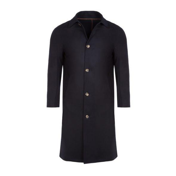Navy Wool and Cashmere Blend Raglan Mac