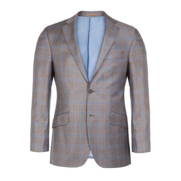 Super 130s Brown Blue Plaid Sports Coat