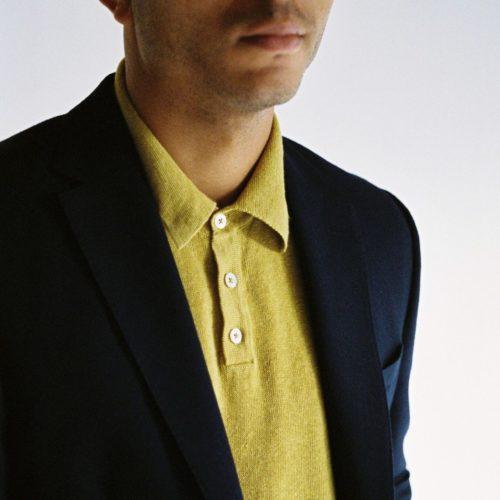 Ochre Long Sleeved Linen Polo