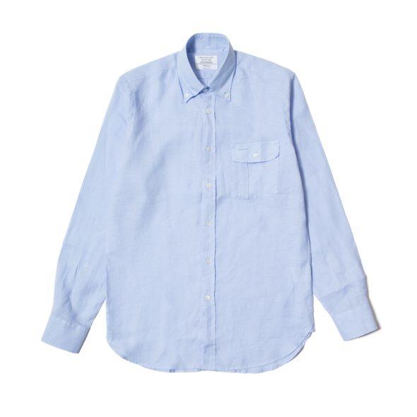 Sky Blue Linen Pen Pocket Shirt