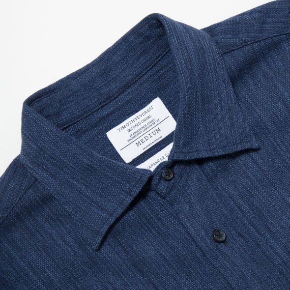Indigo Cotton Short Sleeved Shirt