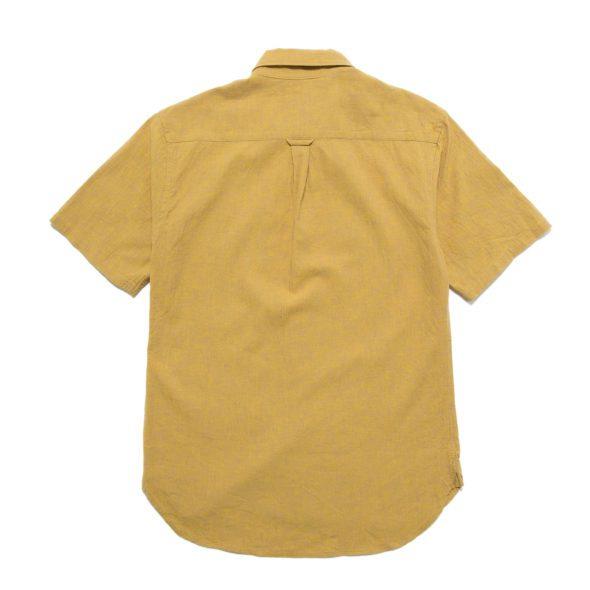 Ochre Linen Cotton Blend Short Sleeved Shirt