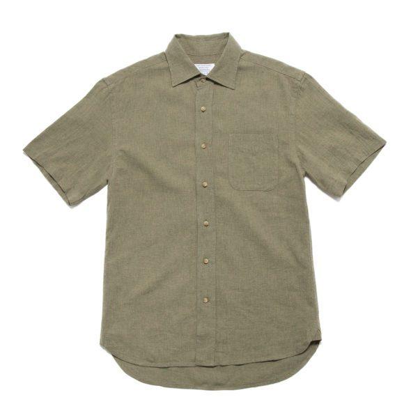 Pistachio Linen Cotton Blend Short Sleeved Shirt