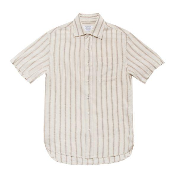 Off White Linen Cotton Blend Short Sleeved Shirt