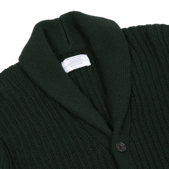Forest Green Cardigan Stitch Shawl Collar Cardigan