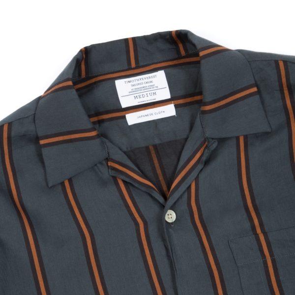Emerald Stripe Long Sleeve Cuban Shirt