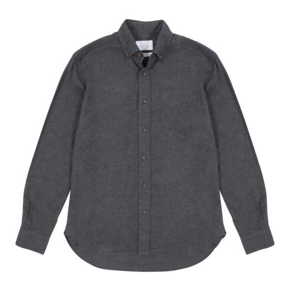 Grey Charcoal Gingham Brushed Cotton Redchurch Shirt