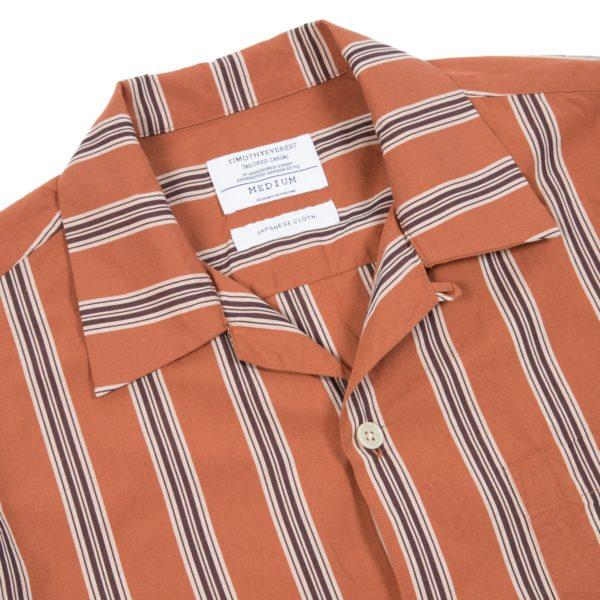 Rust Striped Long Sleeve Cuban Shirt