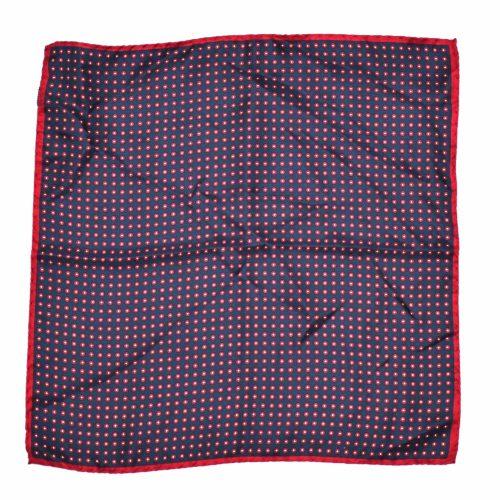 Navy Red Circle Pattern Silk Pocket Square