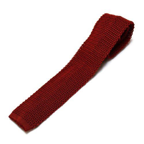 Burgundy Red Silk Knitted Tie