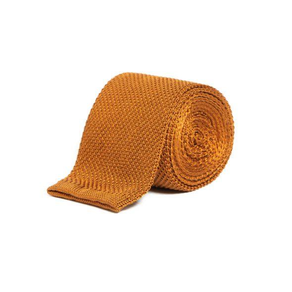Gold Silk Knitted Tie