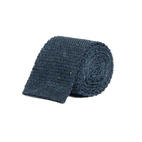 Navy Blue Silk Knitted Tie