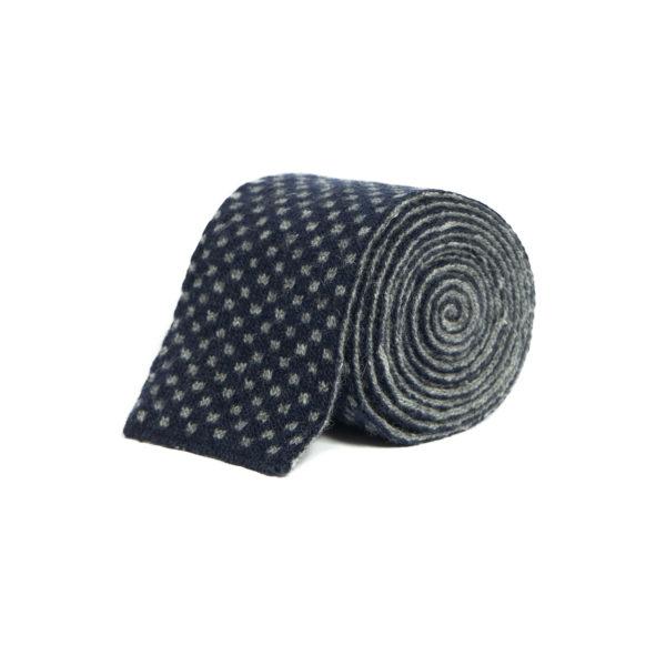 Navy Blue Silk Mix Knitted Tie