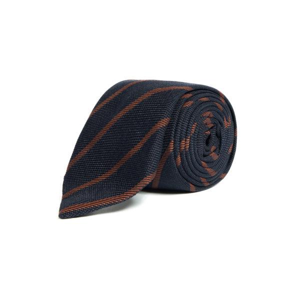 Navy Orange Silk Grenadine Tie