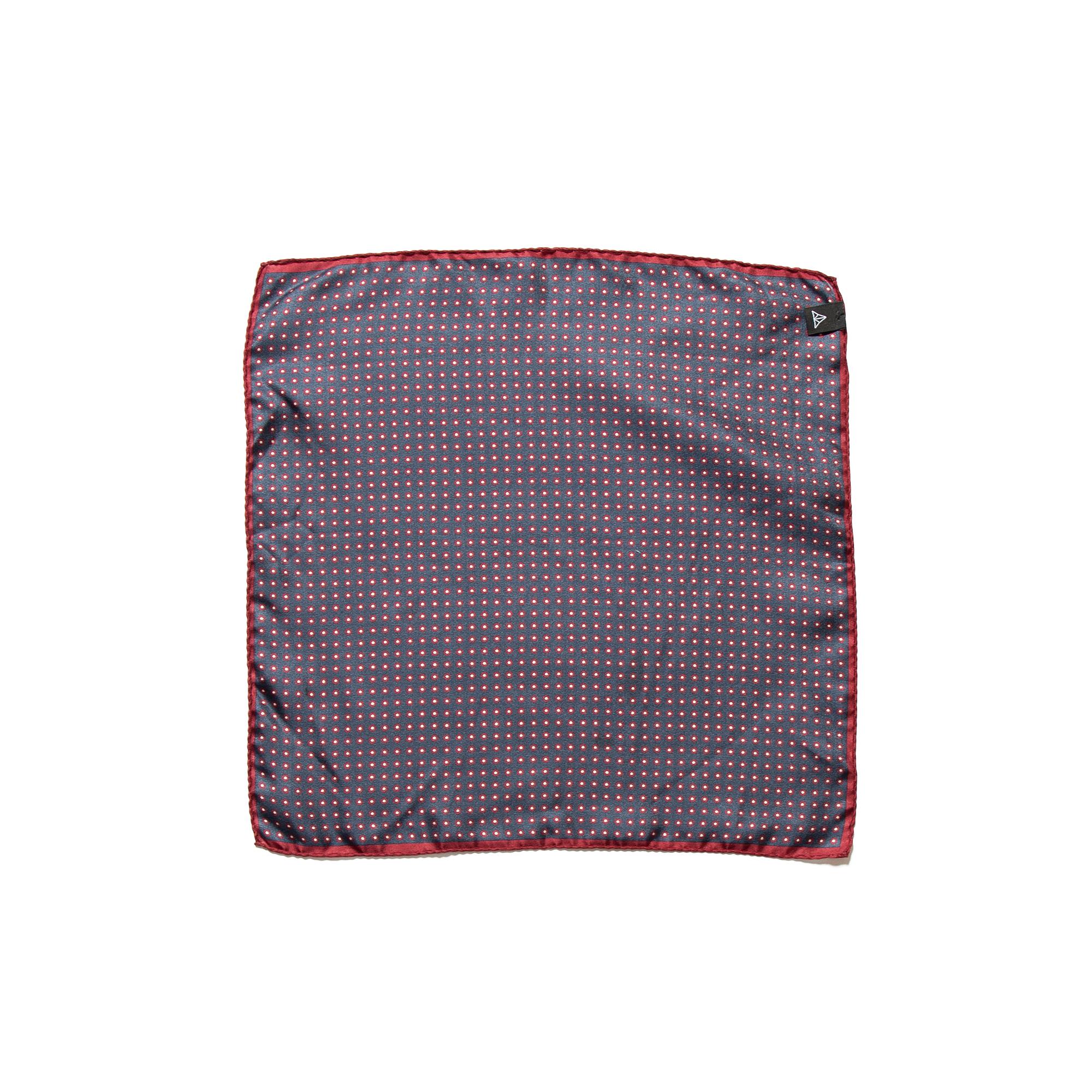 Navy Red Silk Pocket Square