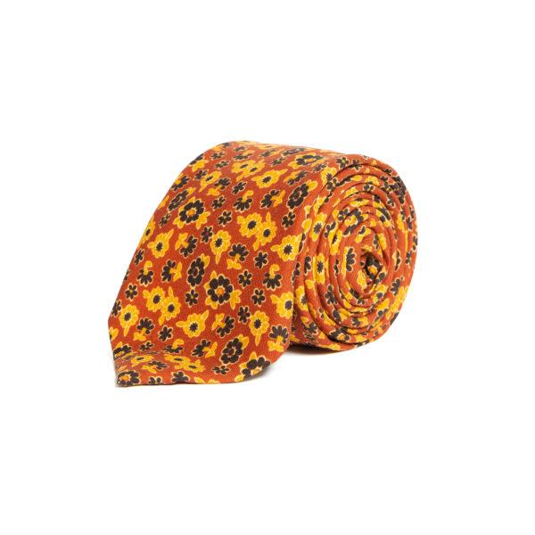 Orange Floral Pattern Silk Tie