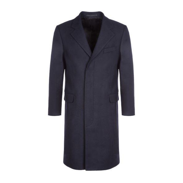 Navy Herringbone Wool Town Coat