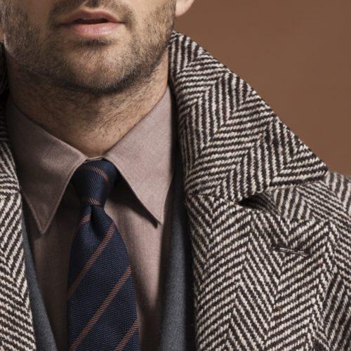 Brown Ivory Herringbone Double Breasted Coat