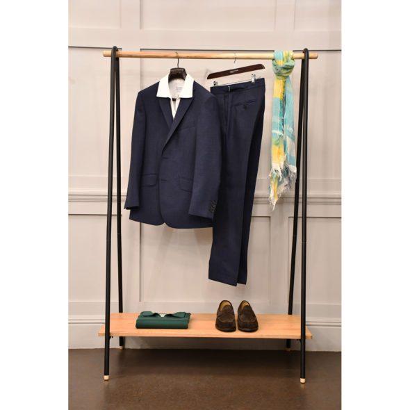 Navy Blue Wool Fresco Suit Jacket