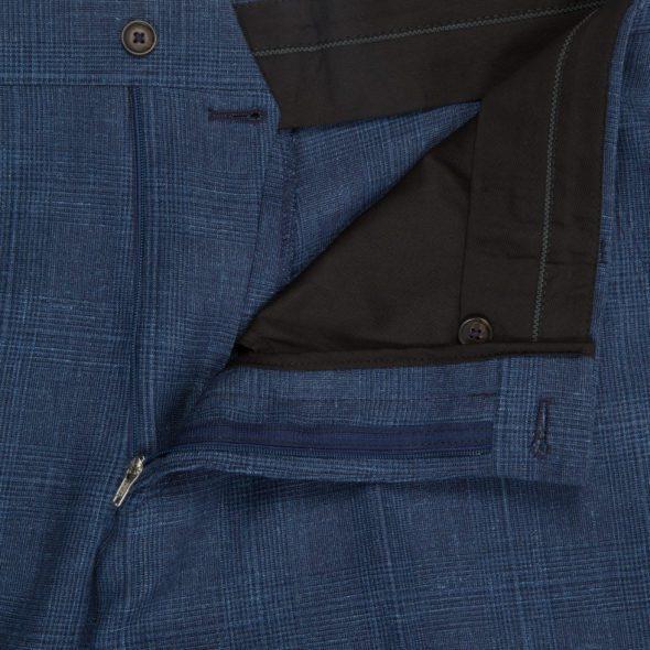 Airforce Blue Linen Glen Check Trousers