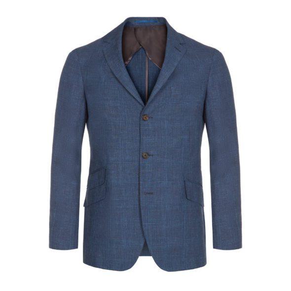 Timothy-Everest-Airforce Blue Linen Glen Check Windsor Jacket