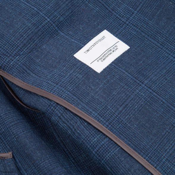 Airforce Blue Linen Glen Check Windsor Jacket
