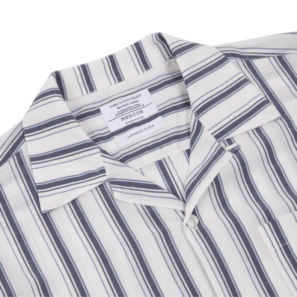 Blue Dobby Striped Cuban Collar Shirt