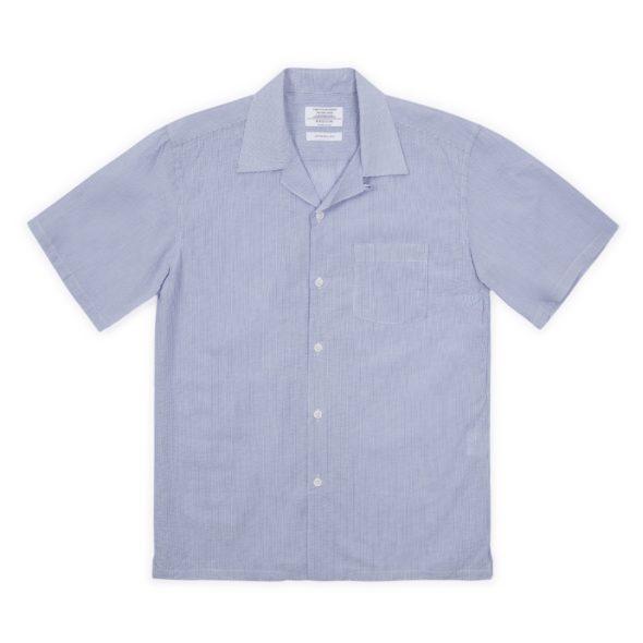 Blue Seersucker Cuban Collar Shirt