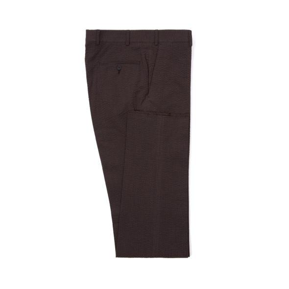 Brown Cotton Seersucker Trousers