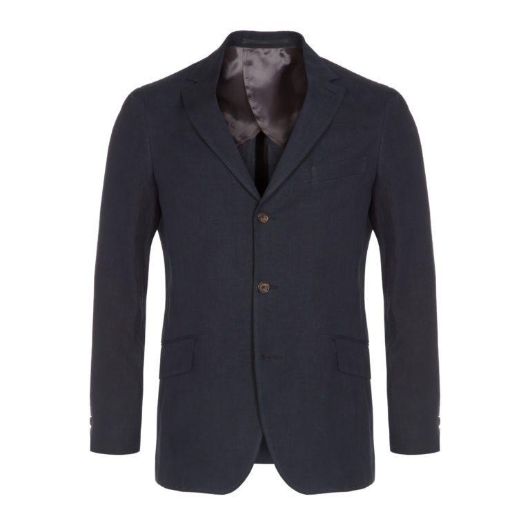 Navy Blue Compact Linen Windsor Jacket