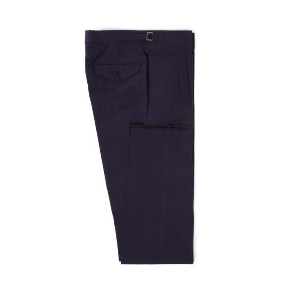 Navy Cotton Seersucker Pleated Trousers