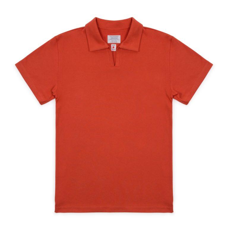 Red Cotton Cuban Polo Shirt