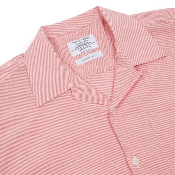 Red Seersucker Cuban Collar Shirt