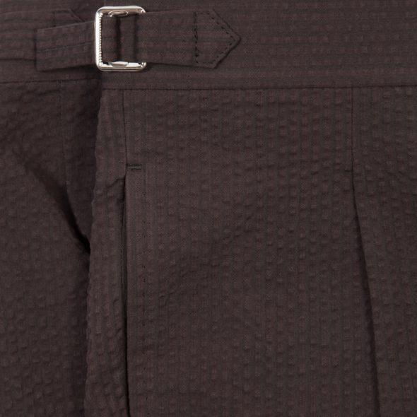 Brown Cotton Seersucker Pleated Shorts